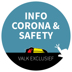 Covid 19 sticker with information about Corona and safety