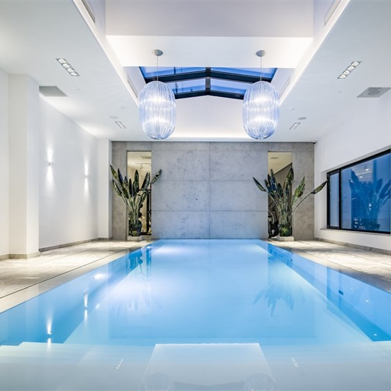 A stylish pool with panoramic roof and view of Enschede