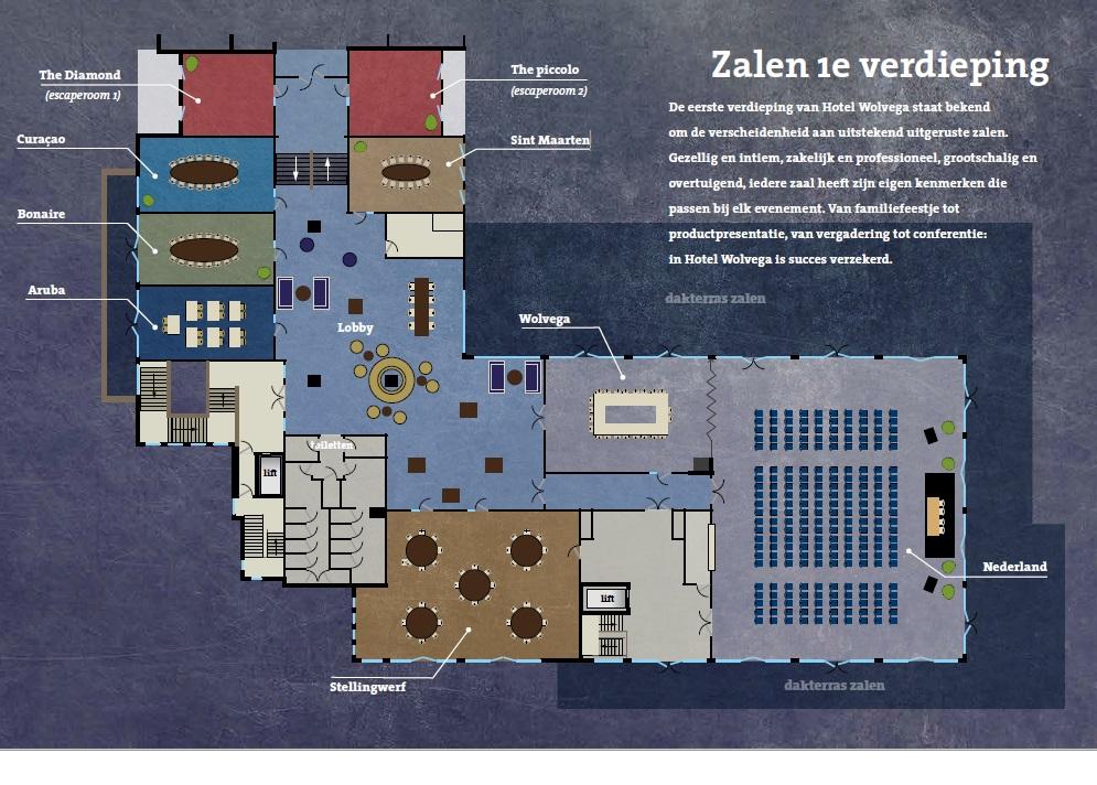 Plattegrond 1e verdieping hotel Wolvega